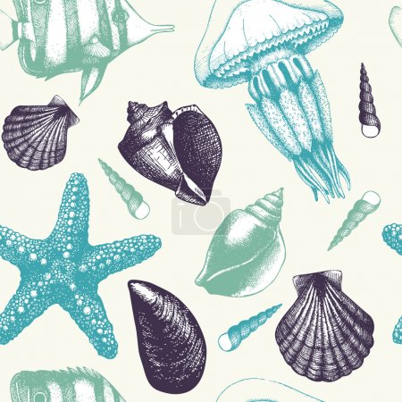 Pattern with fish, sea shells, sea star and jellyfish