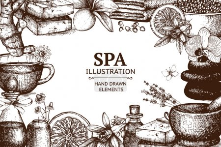 Illustration for Spa sketch background with natural cosmetics. Vector design with hand drawn spa illustration isolated on white background - Royalty Free Image