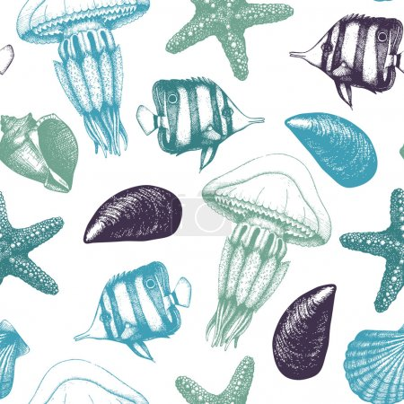 Illustration for Vector seamless pattern with hand drawn small fishes, sea shells, sea stars and jellyfishes sketches. Vintage background with sea life illustrations - Royalty Free Image