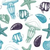 Pattern with fishes sea shells sea stars and jellyfishes