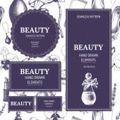 Beauty background with cosmetics and jewelries