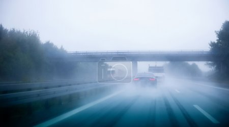 Highway traffic on a rainy day