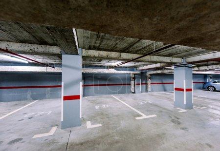 Empty underground car park