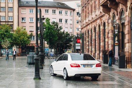 White luxury taxi car