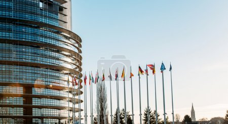 Photo for All European Union Flags in Strasbourg, France at the European parliament on a clear sky day - Royalty Free Image