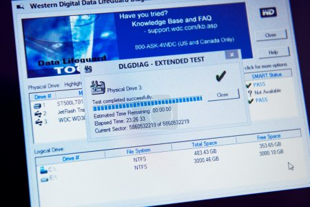 Western Digital Data Lifeguard Diagnostics test result