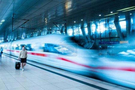 Frankfurt Airport Train Station rush hour