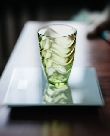 Empty glass on electronic scale