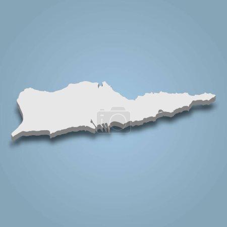 Illustration pour La carte isométrique 3d de Sainte Croix est une île des Îles Vierges des États-Unis, illustration vectorielle isolée - image libre de droit