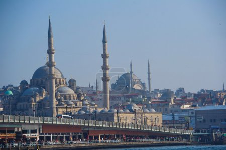 View to Galata Bridge with New Mosque in the background