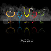 Wine menu card design with glass background