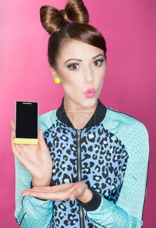 Woman presenting a smart phone