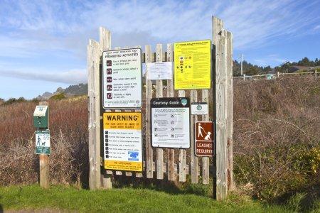 Signposts and warnings Oregon coast.