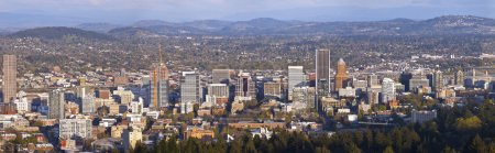 Portland Oregon city panorama at sunset.