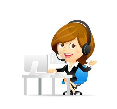 Illustration pour Service clientèle femme d'affaires avec ordinateur - image libre de droit