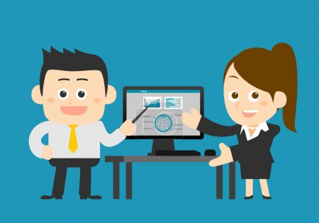 Businesspeople working at computer