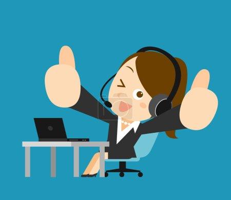 Illustration pour Illustration vectorielle - Femme d'affaires à l'ordinateur - image libre de droit