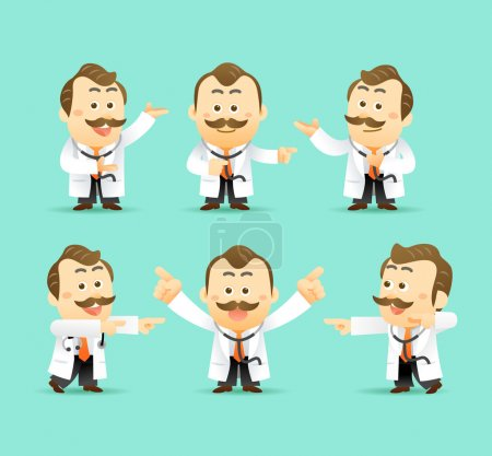 Illustration for Vector Set of Cartoon Doctors Character, vector illustration - Royalty Free Image