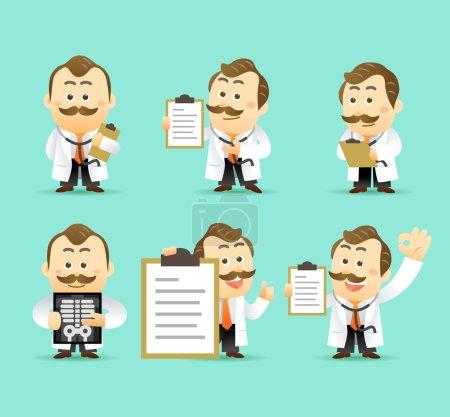 Illustration pour Ensemble vectoriel de caricatures Médecins Caractère, illustration vectorielle - image libre de droit