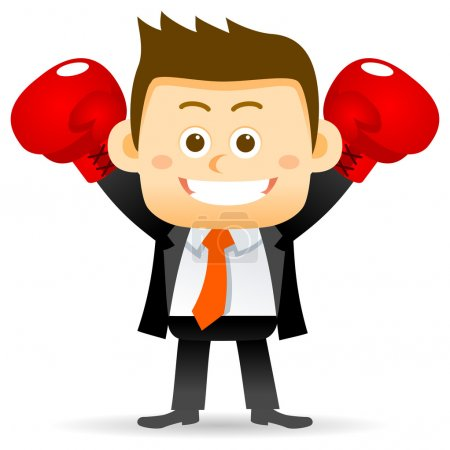 cartoon Businessman character boxing