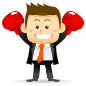 Cartoon Businessman character boxing isolated on white background