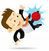 Cartoon Businessman character playing soccer isolated on white background