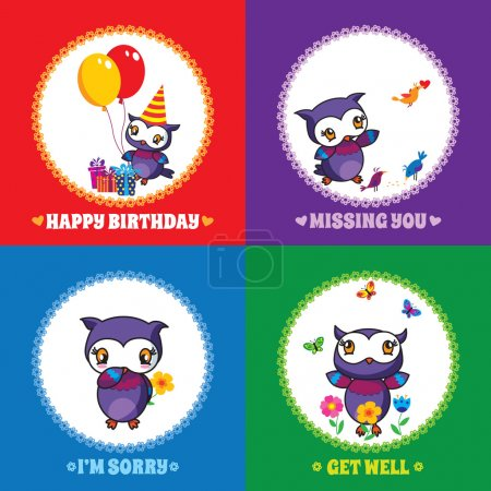Set of 4 greeting cards with cute owls - 1