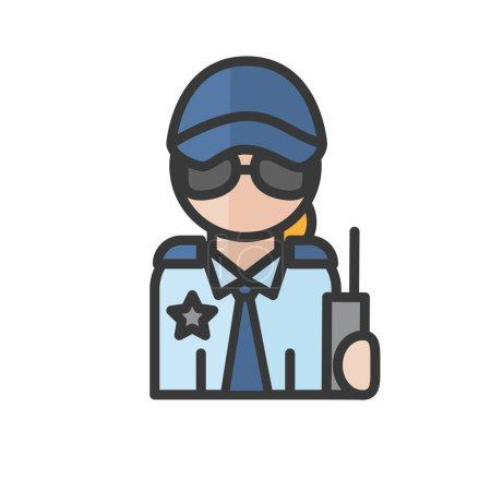 Illustration pour Avatar de sauvegarde féminin. Une femme qui travaille. Utilisateur de profil, personne. L'icône des gens. Illustration vectorielle - image libre de droit