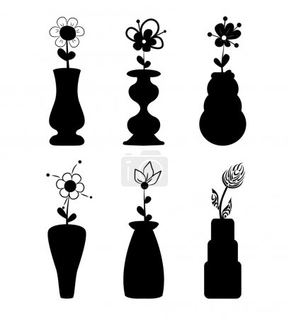 Different slyle of vases with flowers