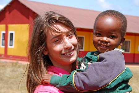 A voluntary non-profit organization Smile to Africa plays with a