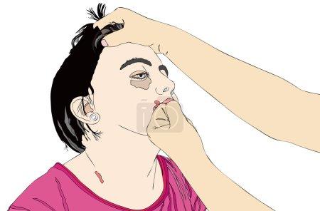 Illustration pour Pourquoi tant de violence - illustration symbolique d'un homme qui bat une femme - image libre de droit