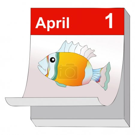Illustration for April 1, humorous illustration representing  the day of pranks and false news - Royalty Free Image