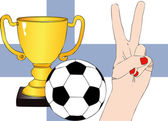 He won Finland - Illustration depicting the joy of a supporter for the cup won in a football tournament for nations