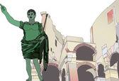 Statue of Emperor Gaius Julius Caesar to the Roman Colosseum