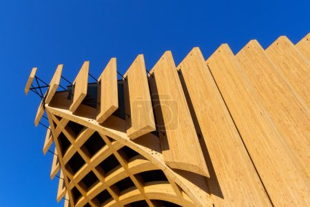 Detail of a modern wooden architecture in glued la...