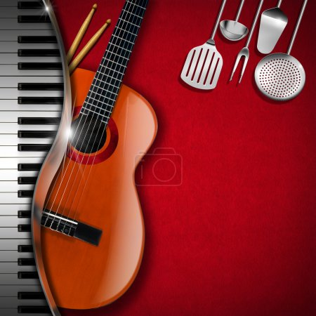 Photo pour Fond en velours rouge avec ustensiles de cuisine, guitare acoustique, clavier piano et batteur. Modèle pour menu de nourriture et une comédie musicale même - image libre de droit