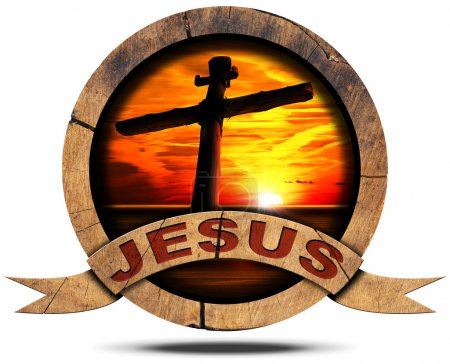 Photo for Round wooden icon with cross silhouette at the sunset over the sea with cloudy sky, wooden ribbon with text Jesus. Isolated on white background - Royalty Free Image