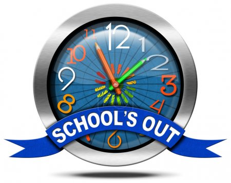 School's Out - Metal Icon with Clock