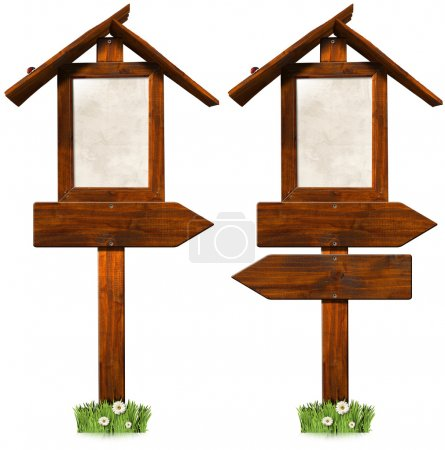 Wooden Directional Signs with Roof