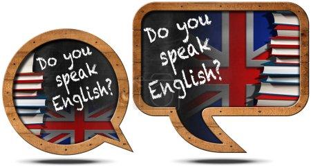 Photo pour Deux tableaux avec cadre en bois en forme de bulle de parole avec texte Parlez-vous anglais ? Livres et drapeau britannique - image libre de droit
