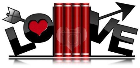 Photo pour Quatre livres d'amour rouge avec coeur et serre-livres en forme de flèche et texte Love. Isolé sur fond blanc - image libre de droit