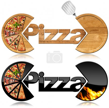 Pizza - Two Symbols with a Slices of Pizza