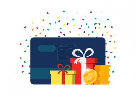 Illustration for Gift or bonus card. Earn loyalty points and receive online rewards. Customer service business advertising. Money coins cashback, financial prize program, surcharge or allowance payment concept. Vector - Royalty Free Image
