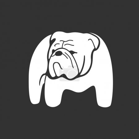 Bulldog monochrome silhouette.