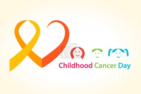 Illustration for Childhood cancer day vector illustration. Cancer Ribbon heart concept with children. - Royalty Free Image