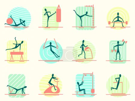 Set of sport equipment icons with person making different gym activity. Athletic, body building, training and workout exercises for people.