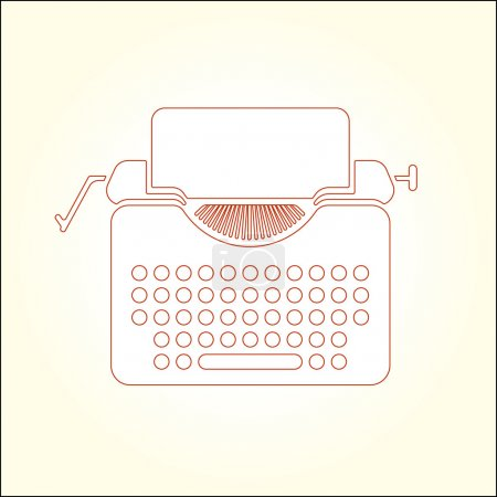 Illustration for Tipewriter vector thin line icon illustration. EPS 10. - Royalty Free Image