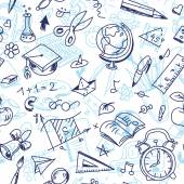 Creative seamless school pattern with children drawings