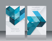 Vector brochure template design witn blue geometrical abstract l