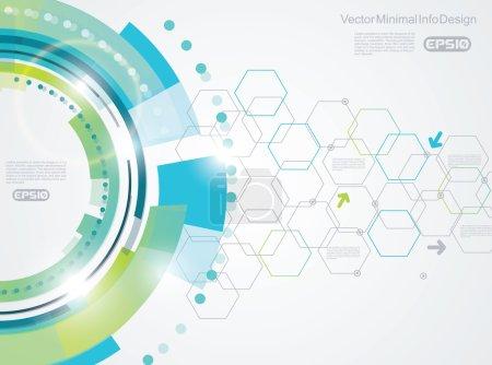 Illustration pour Eléments vectoriels pour infographie. Modèle de diagramme, graphique, présentation et graphique sur fond de technologie abstraite avec hexagones . - image libre de droit